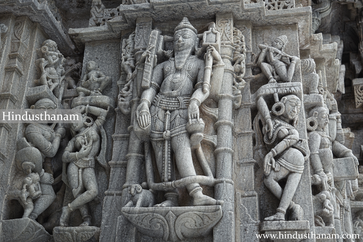 Sculptures on the wall of the temple