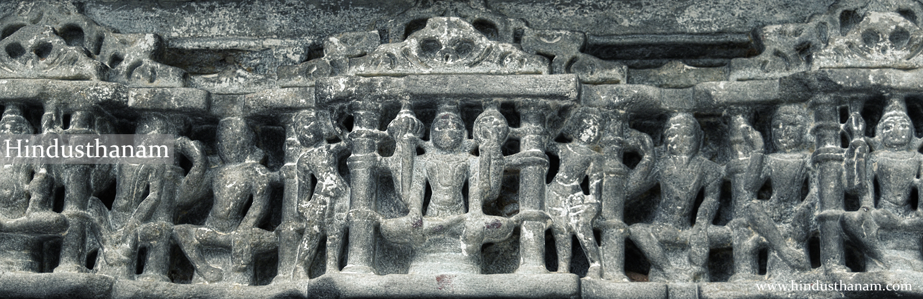Sculpture on the gate of ancient temple of Lord Hanuman near entrance of Ranakpur